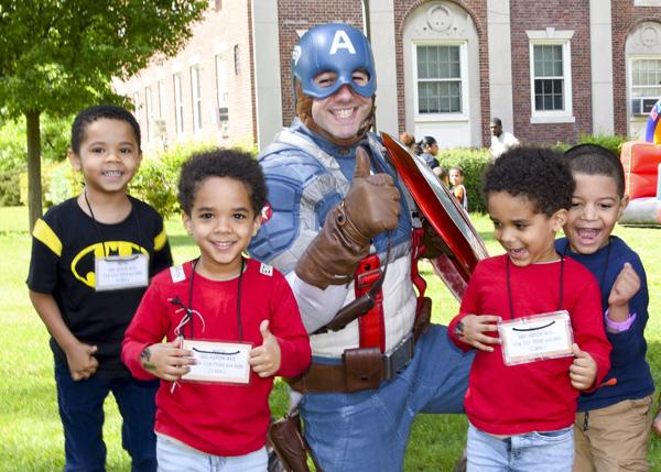 Readiness students with Captain America