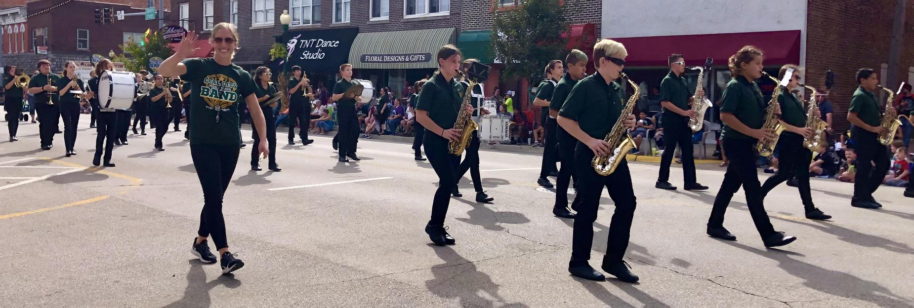 Ms Bontrager and her band in the parade