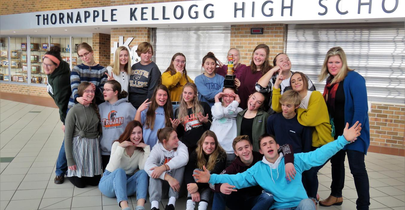TKHS students celebrate winning the Fox 17 Food Fight Friday Challenge.
