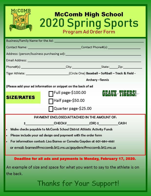 McComb High School Spring Sports Program Booklet Information 2020  #ItsComeBackTime