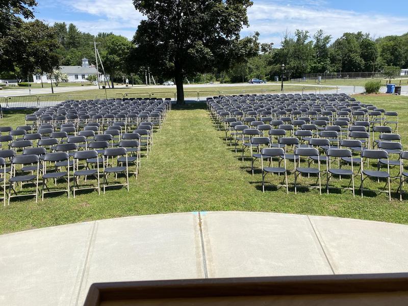Graduation chairs set up at Village Gazebo