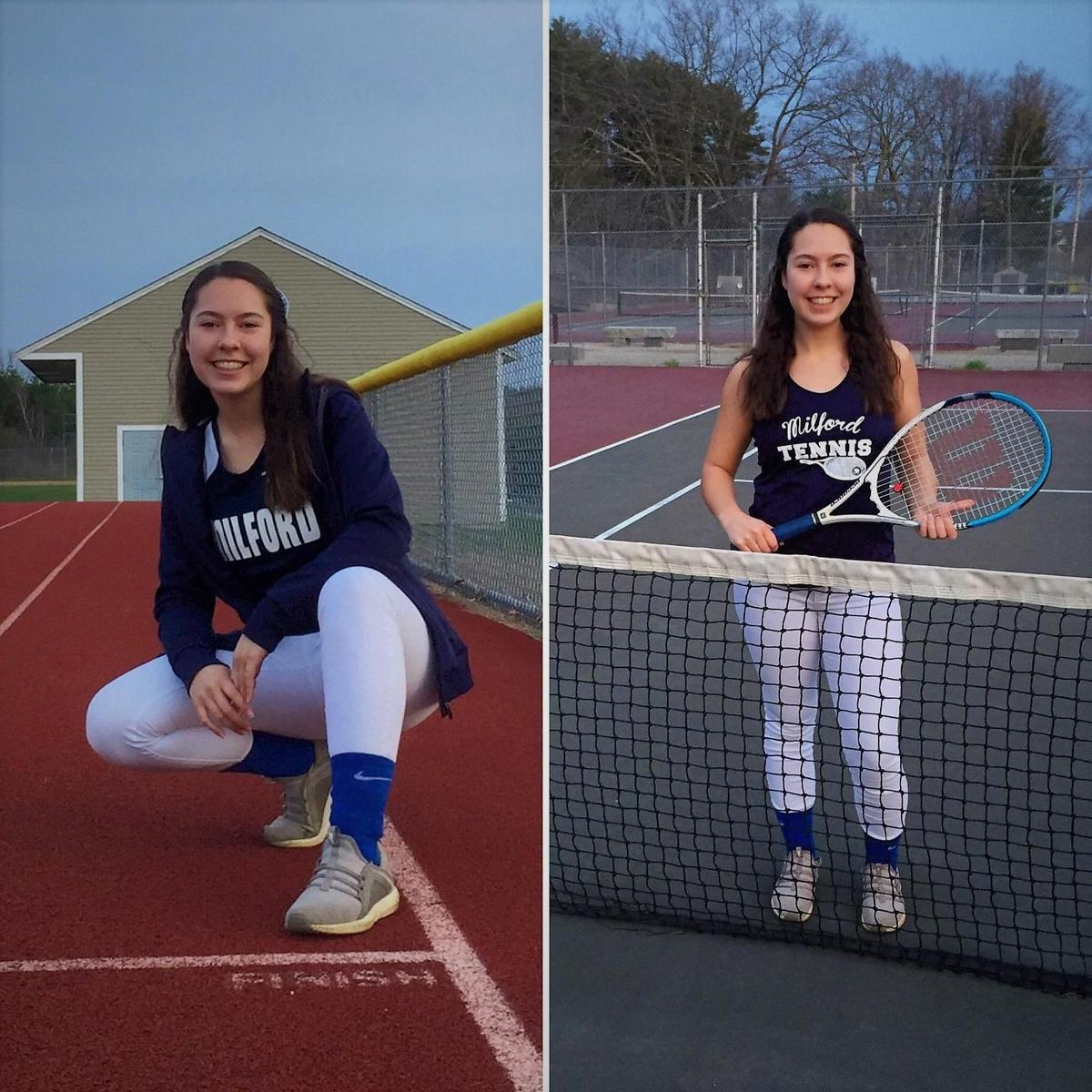 Picture of student on track and at tennis court