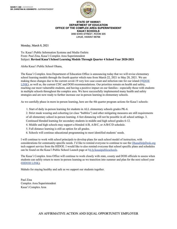 Revised Kaua'i School Distance Learning Models Through Quarter 4 Public Notice 3-8-21.jpg