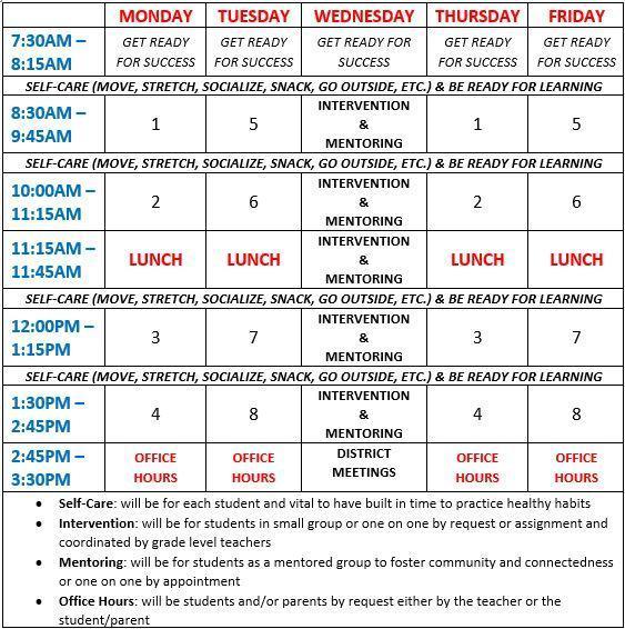 Bell Schedule 20-21