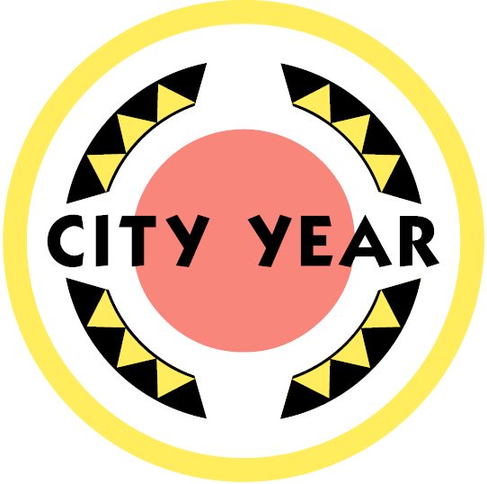 City year Logo, red circle inside a yellow circle border and yellow rectangles