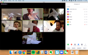 Zoom class meeting with students and their prototype pinwheels.