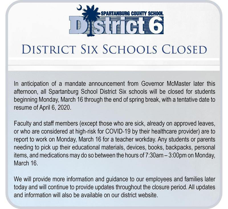 District 6 Schools Closed