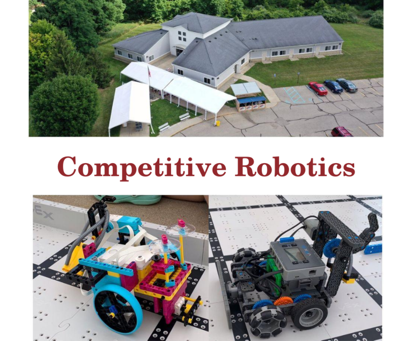 robotics building and image of two robots