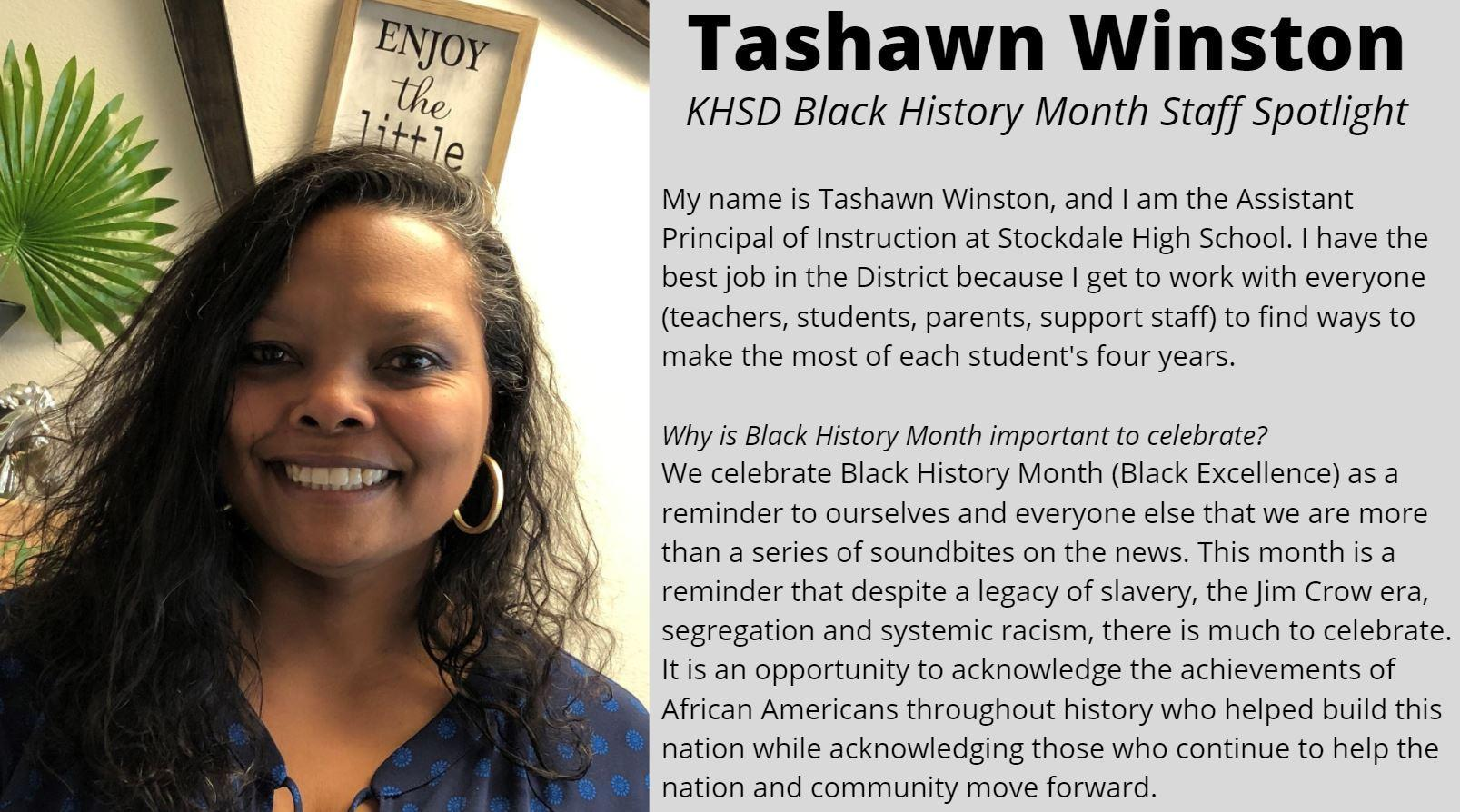 KHSD Black History Month Staff Spotlight: Tashawn Winston, Stockdale Assistant Principal of Instruction