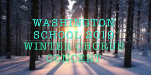 An image with the text Washington School Winter Chorus Concert with a snowy woods background