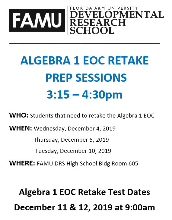 Algebra 1 EOC Retake Prep Sessions Featured Photo