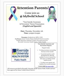 Parent/Suicide Awareness Meeting