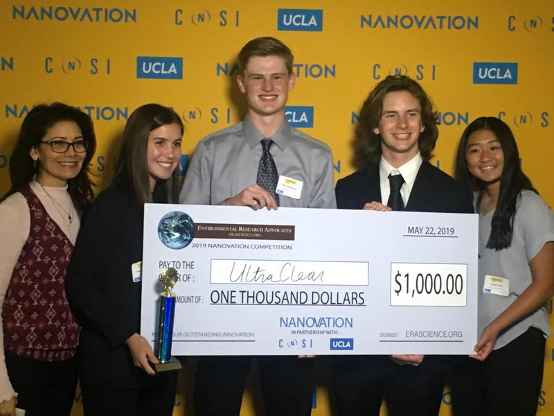 Photo: (From left to right) Mrs. Daniella Duran, Isabelle Goralsky, Nicholas Lottermoser, Brock Bowers and Lauren Chen holding over-sized check and trophy