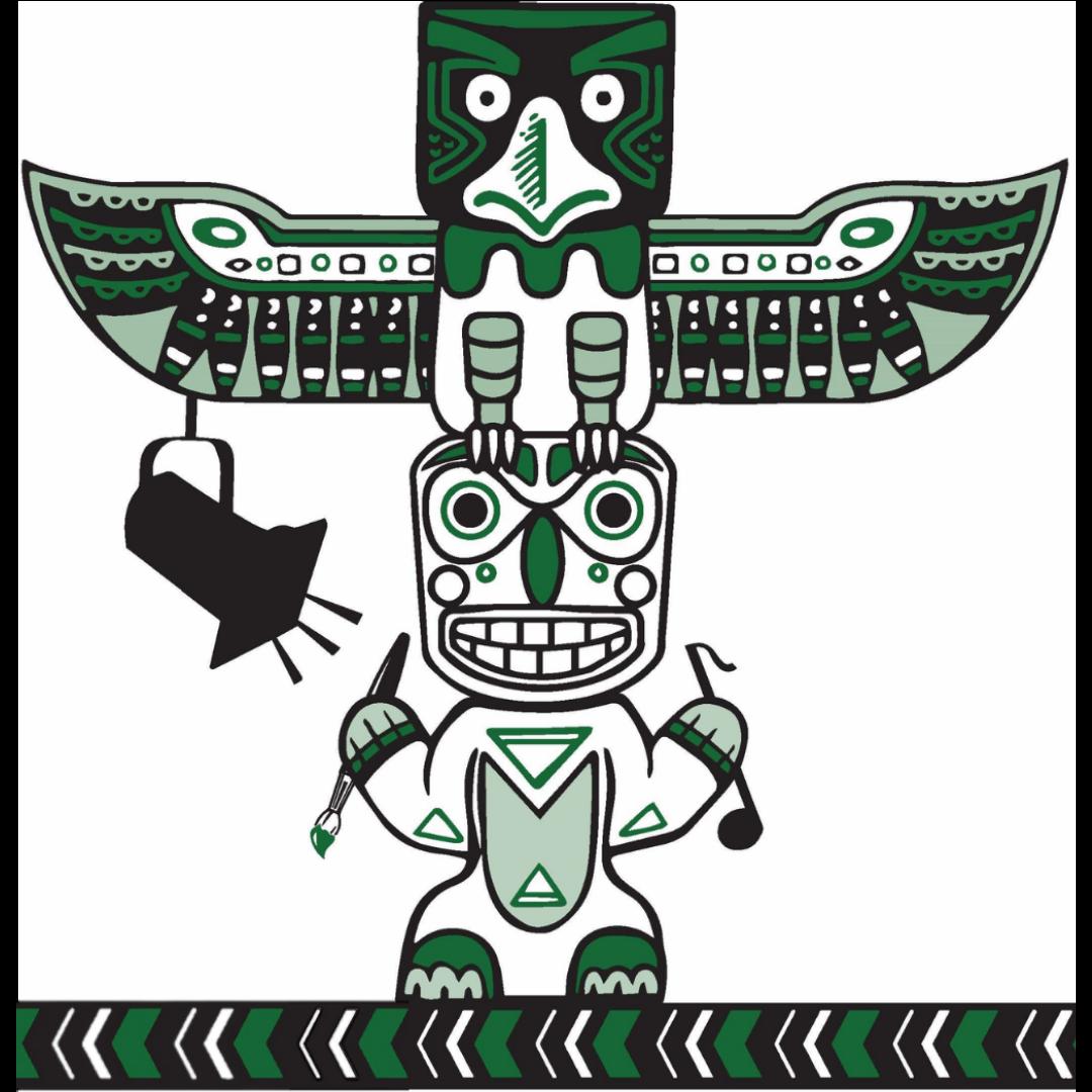 simpson logo with totem pole