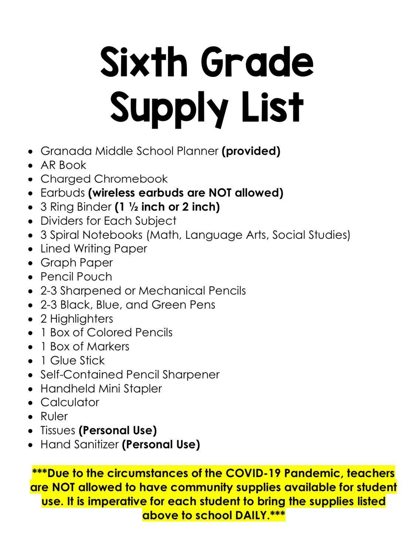 2020-21 6th Grade Supply List