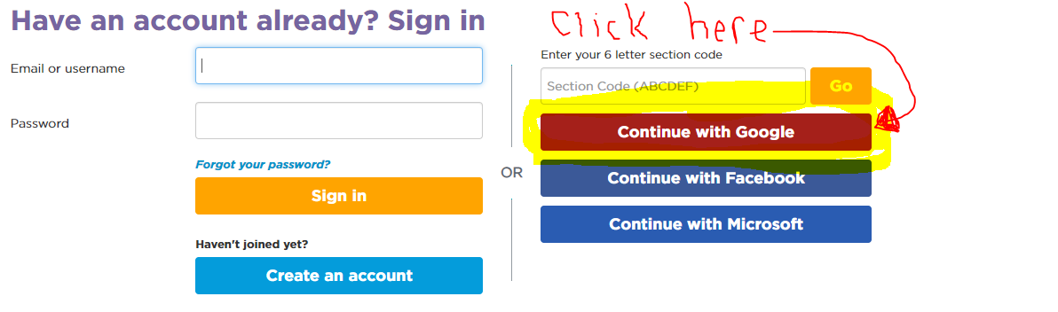 Code.org sign in instructions