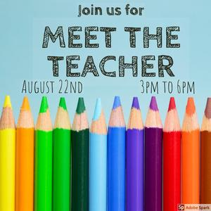 colored pencils meet the teacher August 22 3pm to 6pm