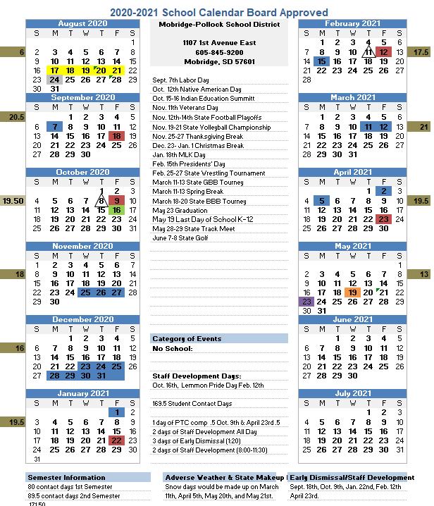 20-21 School Calendar
