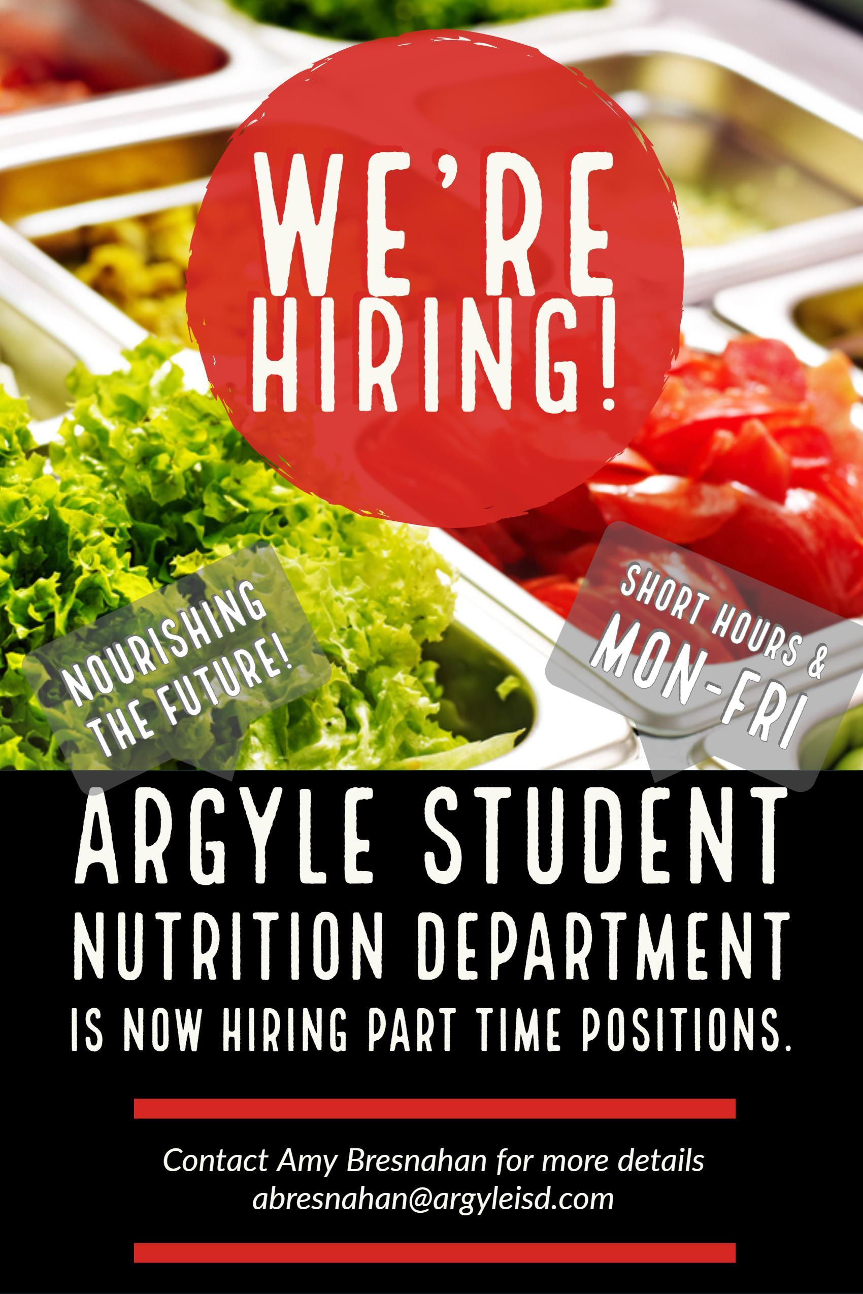 Hiring for part time positions