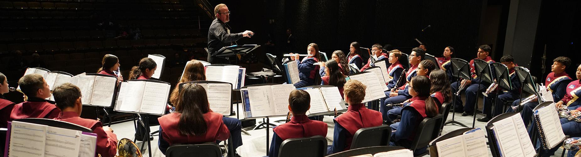 Student orchestra performing
