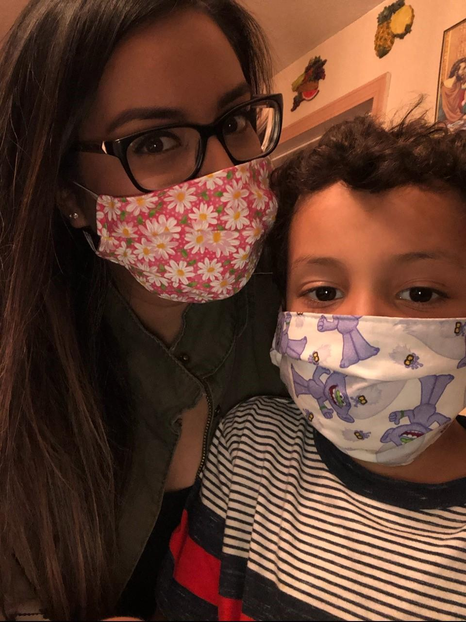 mom & son wearing mask