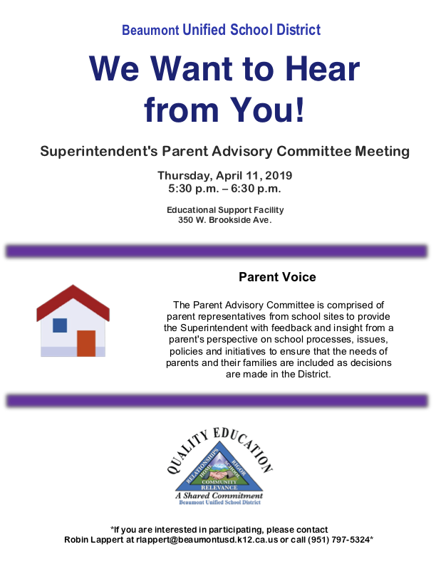 Superintendent Parent Advisory Committee Meeting Flyer