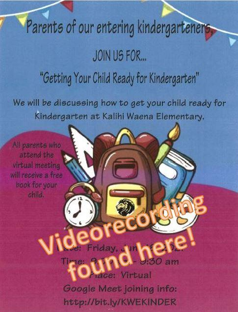 Getting Your Child Ready for Kinder flier