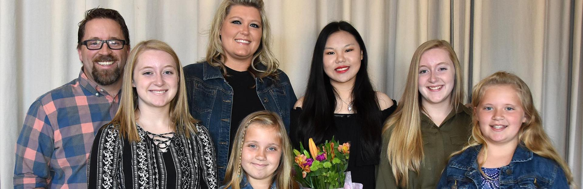 International student with her host family