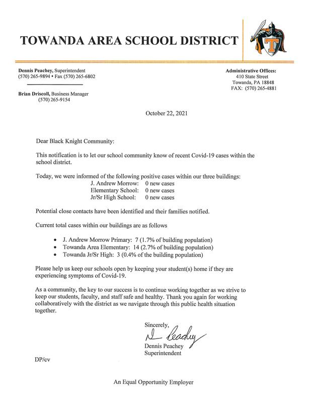 COVID Update Letter 10/22/2021