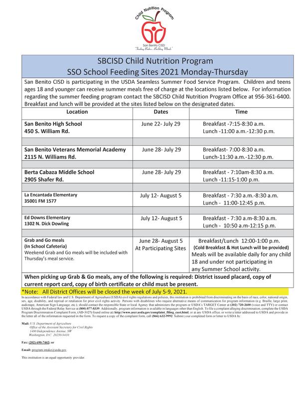 SSO School Feeding Sites 2021