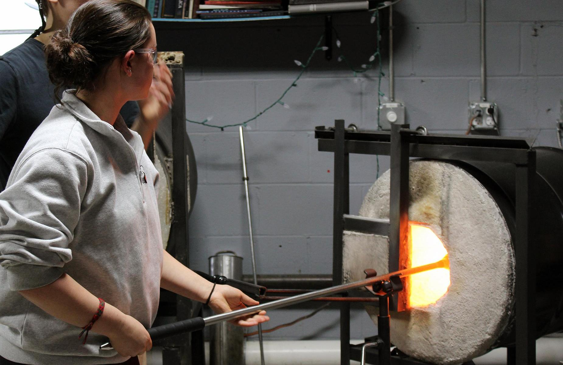 SAU29 Students Blowing Glass