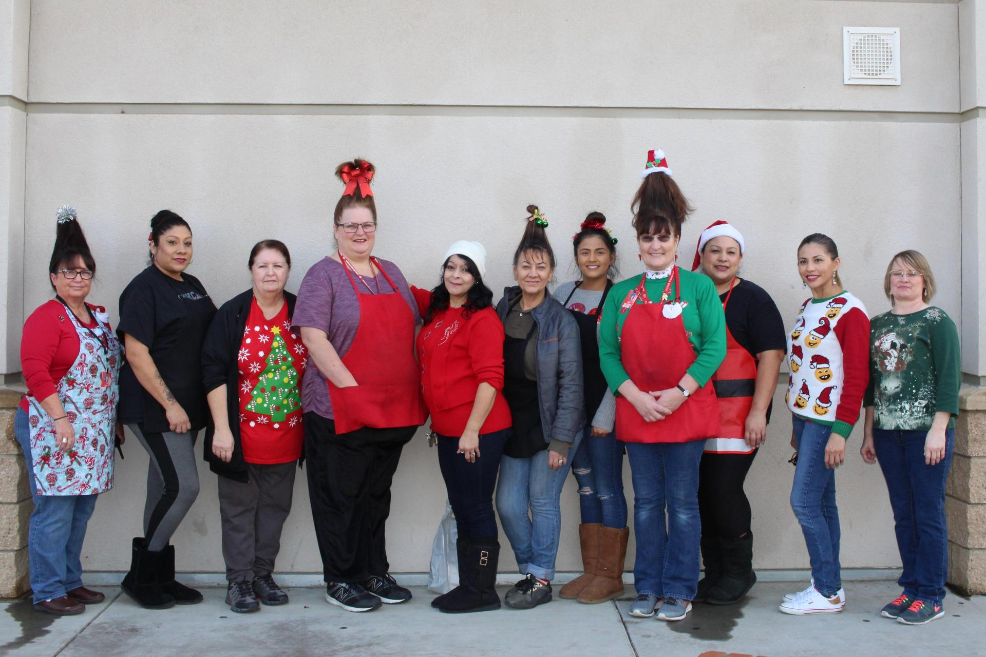 The Cafeteria staff pose as residents of Whoville