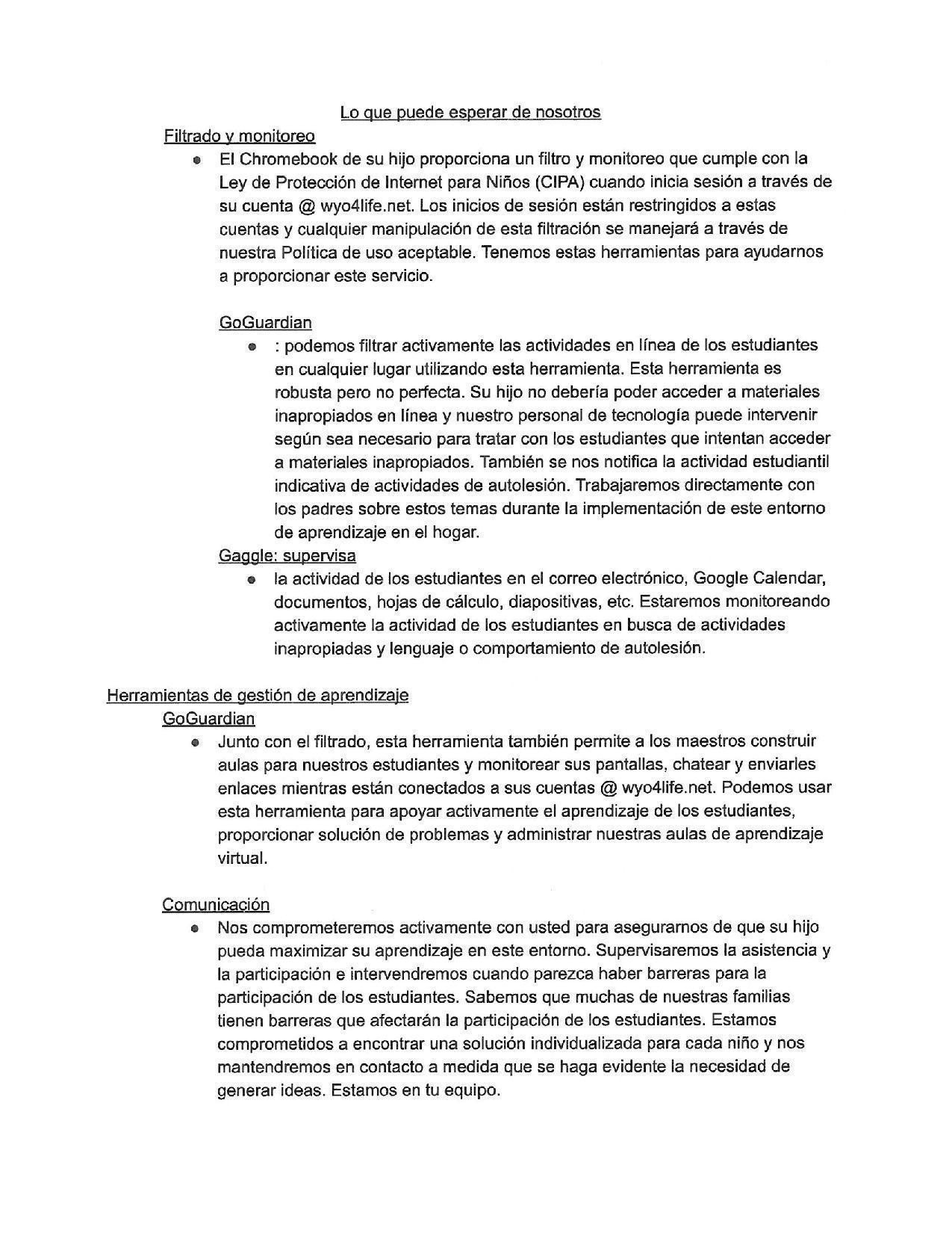 Spanish Parent Letter 3