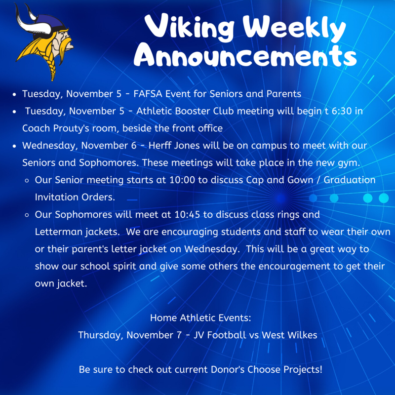 Weekly Announcements 11/4 - 11/8 - Please Click for Further Details Thumbnail Image