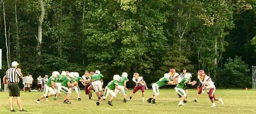 a picture of a middle school football game