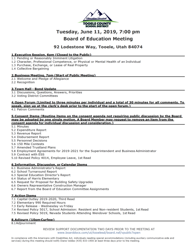 BOE meeting agenda June 11, 2019