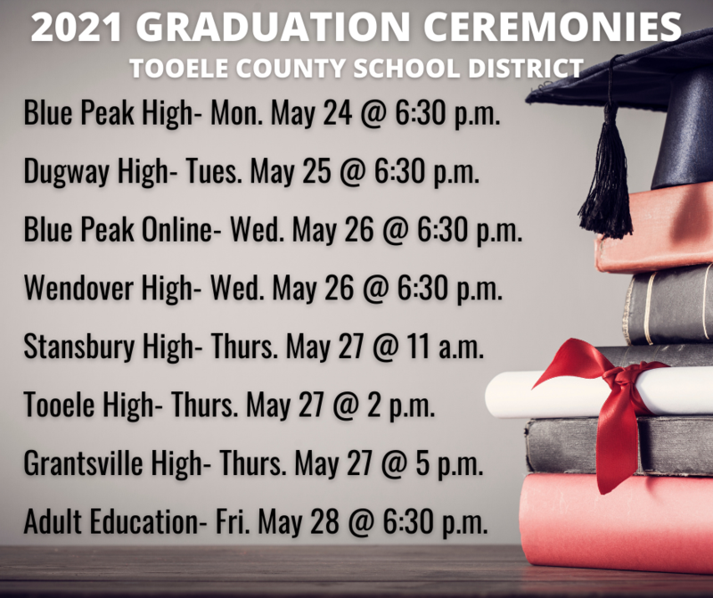 TCSD Graduation dates and times for 2021
