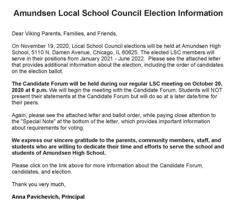 Amundsen Local School Council Election Information Featured Photo