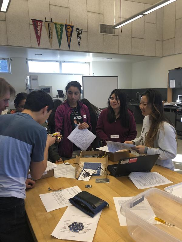 FAED student femineers with Pomona college students Project Wearable Technology