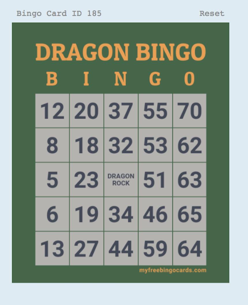 Dragon Bingo during Virtual Field Day