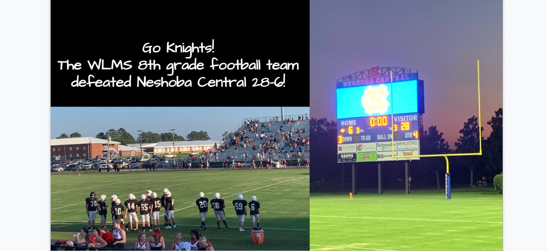 WLMS 8th grade football team defeated Neshoba Central 28-6