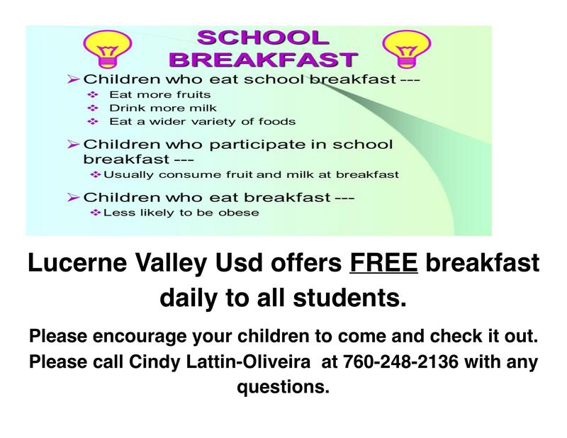 Lucerne Valley USD Offers Free Breakfast Featured Photo