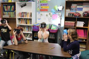 4th Grade Students using VR goggles