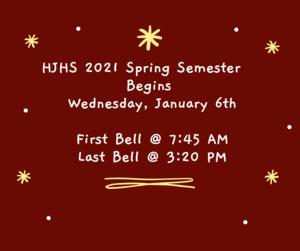 Spring Semester Starts January 6