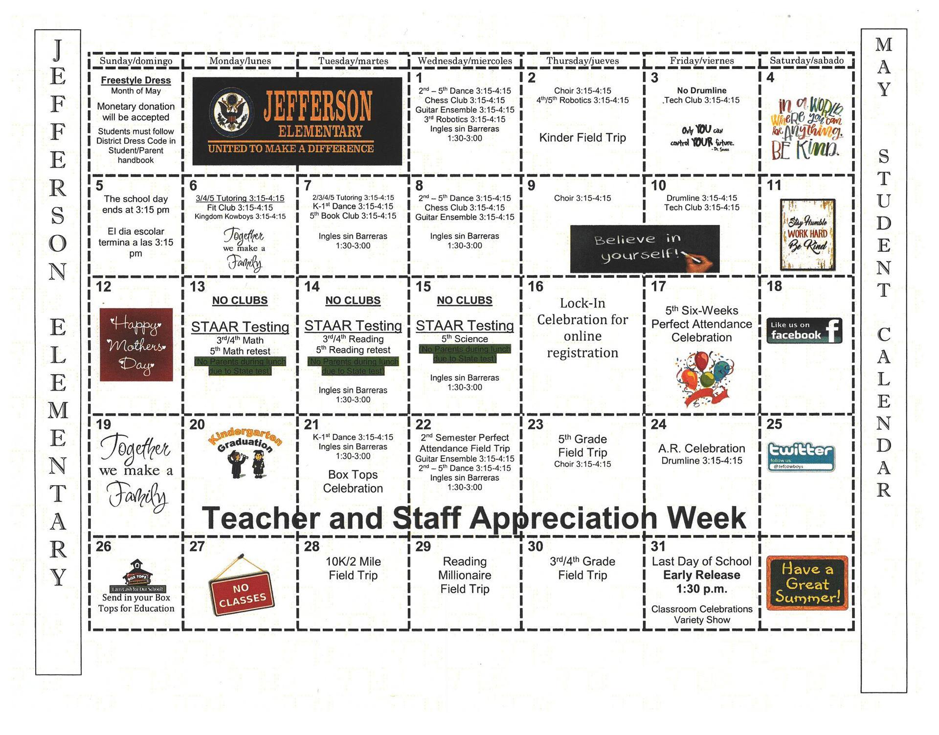 May Student Calendar