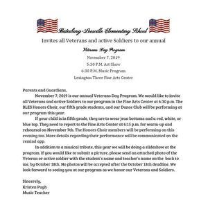 Veteran's Day Parent Letter
