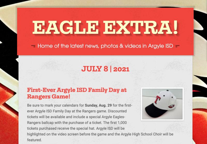 Argyle ISD Eagle Extra: Thursday, July 8, 2021 Thumbnail Image