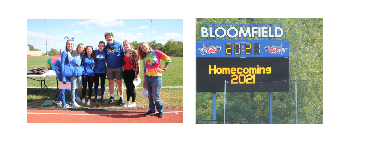 student council students and their advisor, scoreboard with homecoming 2021 on it