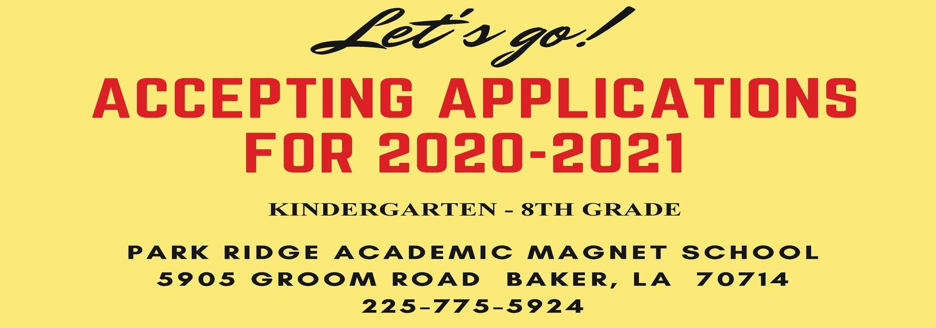 a photo banner advertising Park Ridge accepting K through 8 grade applications for the 2020, 2021 school year