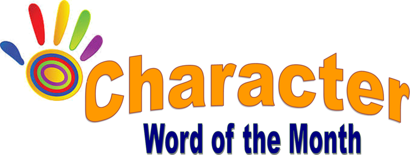 Character Word of the Month graphic with a multi-colored hand print